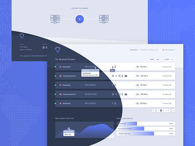 Tor Router Explorer Concept statistics screendesign webdesign light dark list gradient