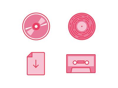 Music Format Icons cassette digital download vinyl cd music