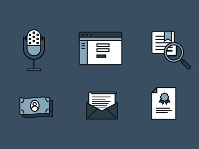 Process Icons music icon certificate letter cash money search mechanical license website microphone