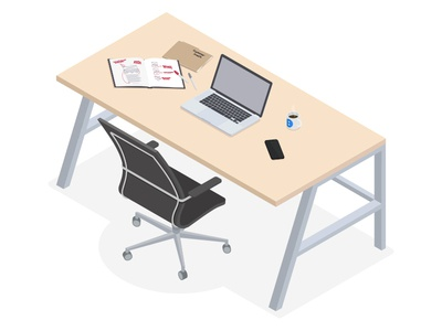 Isometric Illustration Experiment vector laptop chair desk illustration isometric
