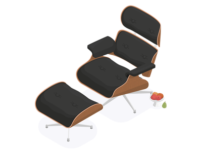Isometric Illustration Experiment 2 eames ray charles texture wood illustration isometric chair lounge herman miller