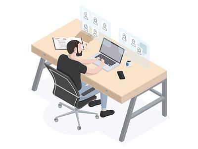 Rebound of my first isometric illustration wescribe chair desk isometric illustration isometric portrait illustration