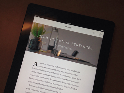 Creative Publication publication journal typography stratum sentinel ios drop caps ipad app