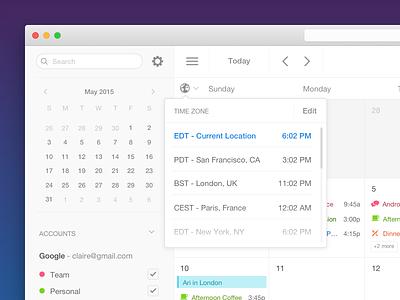 Time Zone time zone 🔥 time week calendar interface mac desktop sunrise