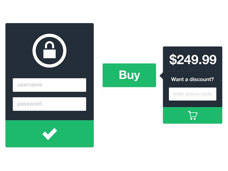 Minimal Elements minimalism flat design form tooltip login lock cart price promo code buy purchase minimal