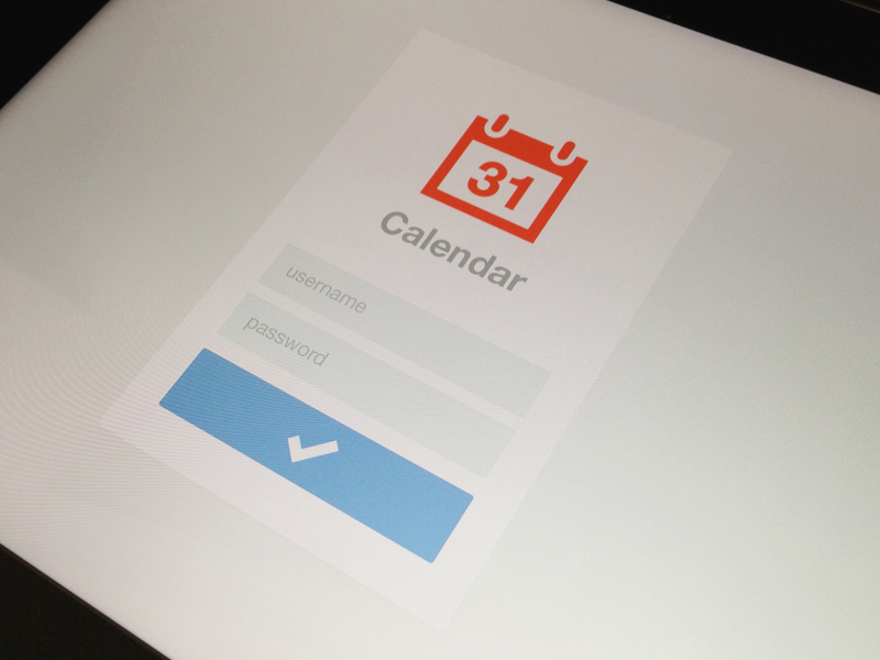 iPad Calendar Login login calendar username password minimal minimalism simplicity awesomeness flat design