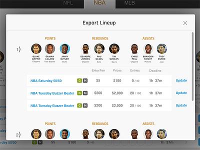 Export Lineup Modal modal shadow box popup sports lineup athletes avatars ui ux photoshop