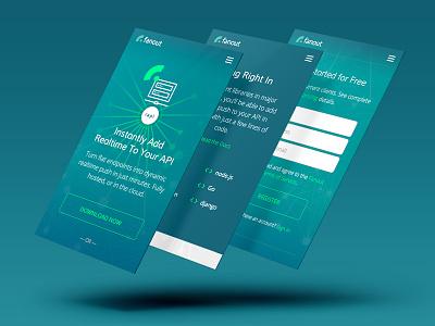 Fanout Mobile responsive aqua turquoise blue green marketing ui ux mobile