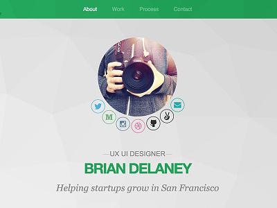 About Page Header designer startup portfolio personal bio profile about