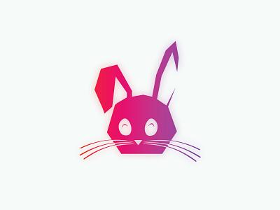 Neon Bunny cute animal drawing illustrator vector pop cat bunny gradient icon neon