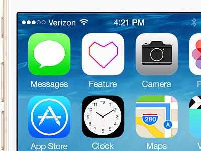 Feature App Icon mobile icons heart pop neon ui iphone ios app icon