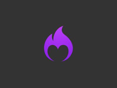 Fire Heart Symbol purple round flame negative space heart fire symbol logo icon