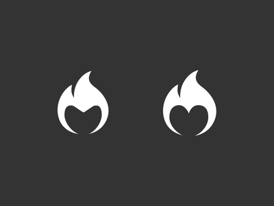 Left or Right? negative space heart flame fire logo icon symbol