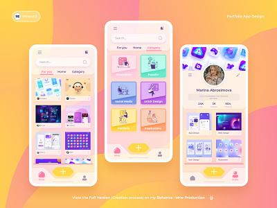 UI/UX Design - Portfolio Mobile App mockup sketch wireframe uiux app portfolio app mobile app design uiux design ux ui