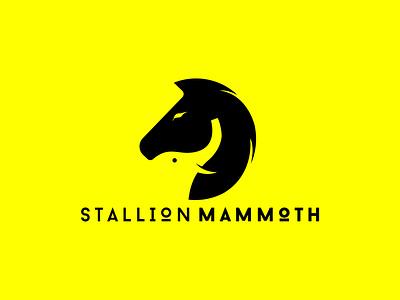 Stallion Mammoth LOGO minimalist logodesign logos logo pony plug nag foal mare filly colt tusker pachyderm mastodon mammoth board elephant horse logo horses horse