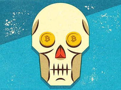 Death of the Bitcoin? retro personal distress digital logo magazine illustrator advertising design vella adobe alexei experiment client conceptual vector editorial illustration texture