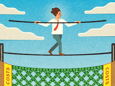 Tight Rope! work advertising typography illustrator graphic design print magazine vector vella alexei adobe distress digital texture illustration client conceptual editorial retro