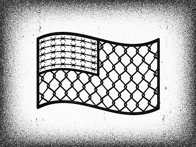 Fenced Flag vella work progress adobe alexei advertising design graphic illustrator digital client experiment distress conceptual personal editorial vector illustration retro texture