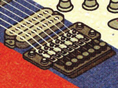 Guitar - Texture Experiment (Halftone) spot client progress visual work graphic print illustrator vella alexei distress adobe digital experiment conceptual personal vector illustration retro texture