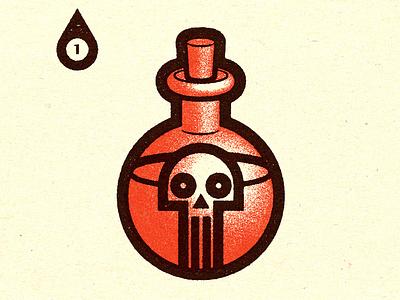 Inktober - Day #1 - Poisonous retro conceptual distress adobe experiment personal vector illustration texture