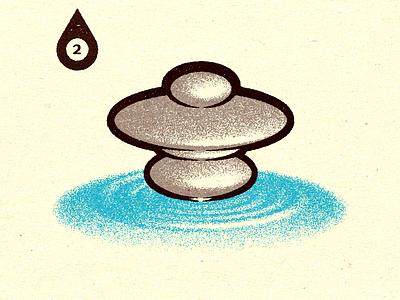 Inktober - Day #2 - Tranquil spot print visual design progress work graphic digital illustrator vella alexei personal adobe experiment distress conceptual illustration retro texture vector