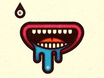 Inktober - Day #6 - Drooling print visual logo advertising work graphic illustrator design vella alexei digital adobe experiment distress conceptual personal vector illustration retro texture