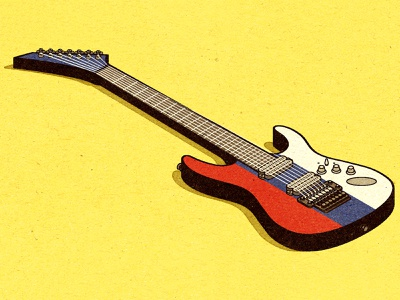 Russian Guitar visual progress print magazine work graphic illustrator advertising vella alexei digital adobe client distress conceptual editorial vector illustration retro texture