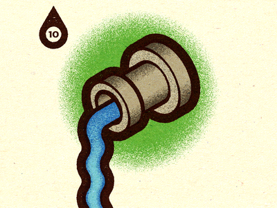 Inktober - Day #10 - Flowing. logo advertising visual progress work graphic illustrator design vella alexei digital adobe experiment distress conceptual personal vector illustration retro texture