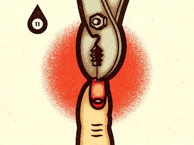 Inktober - Day #11 - Cruel. print progress advertising visual work graphic illustrator design vella alexei digital adobe experiment distress conceptual personal vector illustration retro texture