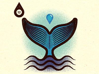 Inktober - Day #12 - Whale. visual logo progress work graphic illustrator design vella alexei digital adobe experiment distress conceptual editorial personal vector illustration retro texture
