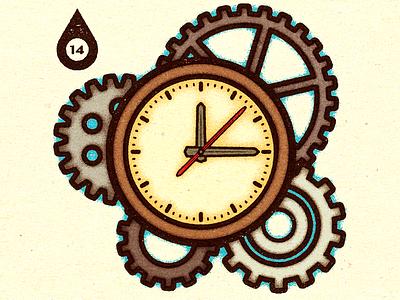 Inktober - Day #14 - Clock. advertising visual magazine print work graphic illustrator design vella alexei digital adobe experiment distress conceptual personal vector illustration retro texture