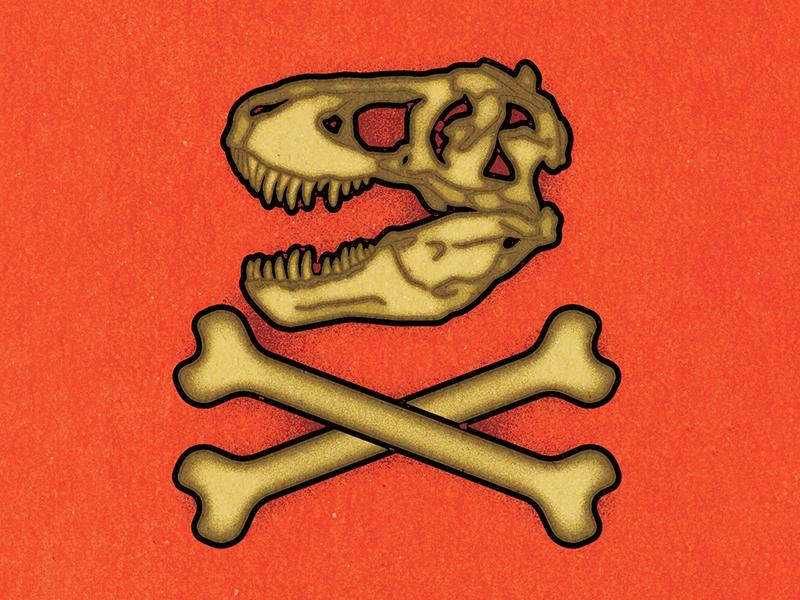 T-REX Skull / The Bone Wars. visual progress print work graphic illustrator design vella alexei digital adobe experiment distress conceptual personal editorial vector illustration retro texture
