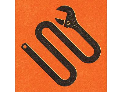 Snaked Wrench. alexei experiment distress conceptual personal editorial vector illustration retro texture