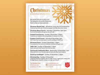 Christmas at Canterbury Salvation Army (2018) christmas gold photoshop event church advertisement poster adobe photoshop salvation army design branding