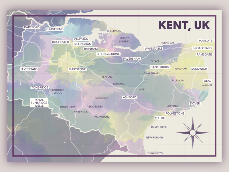 Kent Map' poster print (2018) by Joseph Halliday on Dribbble Kent Map on fraser valley regional district map, derbyshire map, norte map, hertfordshire map, sussex map, cornwall map, london map, scotland map, mercia map, khan map, isle of wight map, dorsetshire map, cleveland park map, maidstone map, flevoland map, wychwood map, united kingdom map, wales map, surrey map, hampshire map,