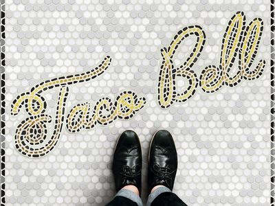 Taco Bell Fauxsaic monoline typography palm canyon drive tile mosaic fauxsaic taco bell
