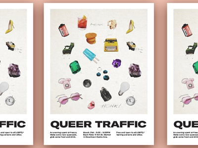 Queer Traffic typography rainbow poster layout poster design collage lgbtq queer