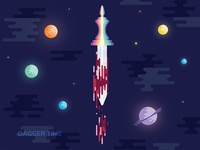 Dagger Time color bomb bloody dagger dagger planets space illustration