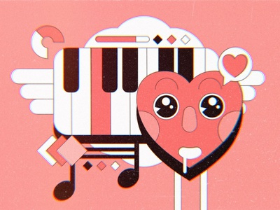 Love Song lovely character ohvalentino music piano cartoon retro affinity vector heart love