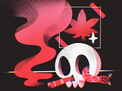Smoking Skull 💀 illustration ohvalentino tattoo oldschool snake weed smoke skull