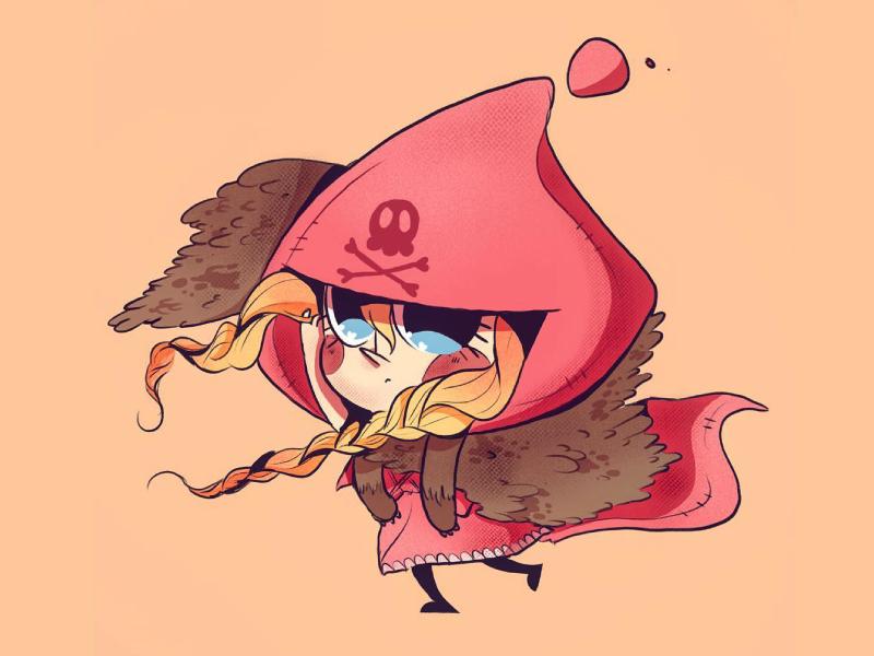 Little Red Riding Hood skull chibi kawaii wolf red ridinghood draw procreate ipadpro illustration character beargara