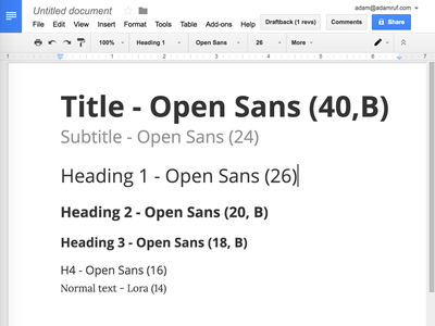 My Google docs typography defaults google docs typography