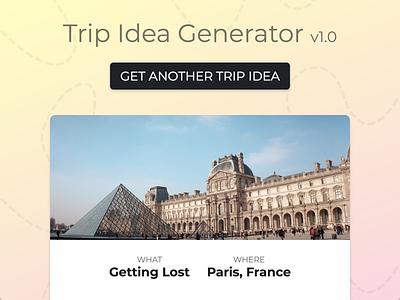Ux Design Contest 6 Example: Trip Idea Generator visual design simple app ux design contest ui