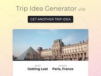 Ux Design Contest 6 Example: Trip Idea Generator