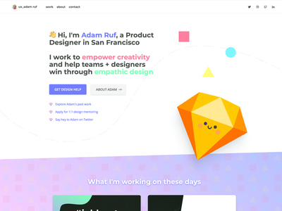 Personal Website Refresh color animation visual design