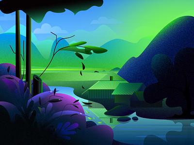Hill track lake vector illustration scenery illustration vector illustration vector art
