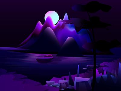 Mountain lake vector illustration colorful lake mountain vectorart vector illustration vector art vector