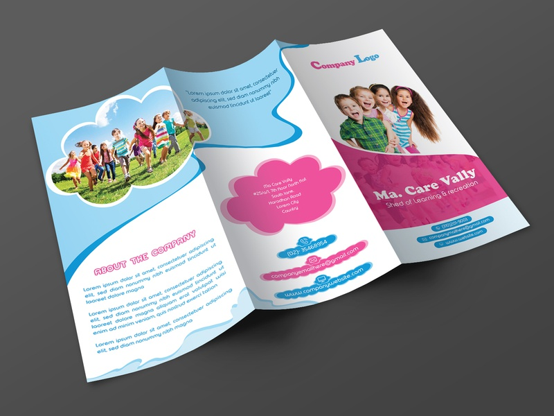 Day care trifold brochure leaflet booklet brochure mockup kids care flyer day care flyer kids care brochure child care brochure day care trifold brochure day care brochure trifold brochure