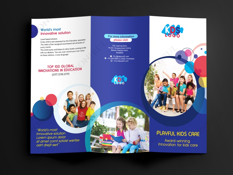 kids trifold brochure colorful day care brochure child brochure kids brochure flyer leaflet print design trifold brochure clean brochure design brochure mockup brochure