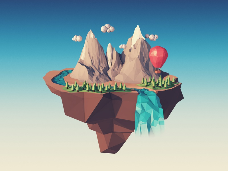 Island In The Sky hot air balloon floating island cinema 4d lowpoly 3d